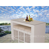 White Bristra Wicker Outdoor Furniture With Stools