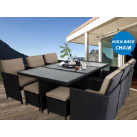 Black Centra 12 Seater Wicker Outdoor Dining Furniture