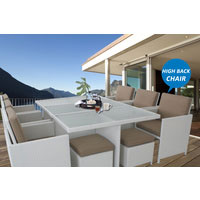 White Centra 12 Seater Wicker Outdoor Dining Furniture