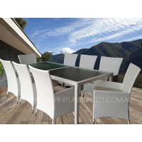 White Millana 8 Seater White Wicker Outdoor Dining Setting