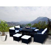 Black Miller 8 Seater Wicker Outdoor Dining Set