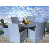 White Victoria 6 Seater Round Wicker Outdoor Dining Set