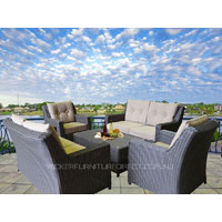 Black Millana 8 Seater Wicker Outdoor Dining Setting