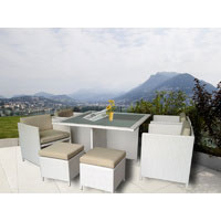 White Miller 8 Seater Wicker Outdoor Dining Set