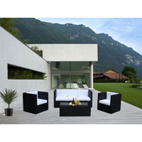 Black Selina 5 Seater Wicker Outdoor Furniture Lounge