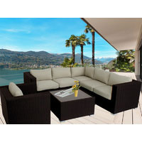 Brown Endora Corner Outdoor Wicker Furniture Lounge
