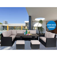 Black Harmonia Wicker Outdoor Lounge Dining Set