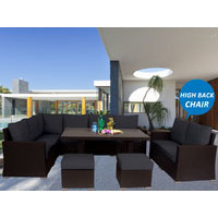 Brown Harmonia Wicker Outdoor Lounge Dining Set