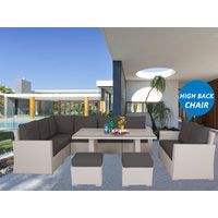 White Harmonia Wicker Outdoor Lounge Dining Set