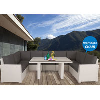 White Kensington Wicker Outdoor Lounge Dining Setting