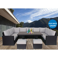 Black Liberty Wicker Outdoor Lounge Dining Setting