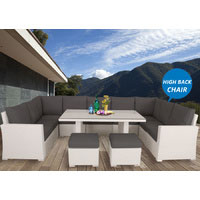White Liberty Wicker Outdoor Lounge Dining Setting