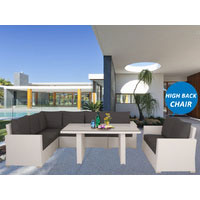 White Miranda Wicker Outdoor Lounge Dining Set