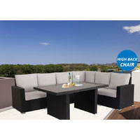 Black Standford Wicker Outdoor Lounge Dining Setting