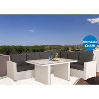 White Standford Wicker Outdoor Lounge Dining Setting